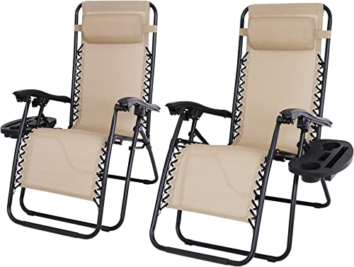 ZenStyle Adjustable Zero Gravity Lounge Chair Folding Out Door Reclining Chairs