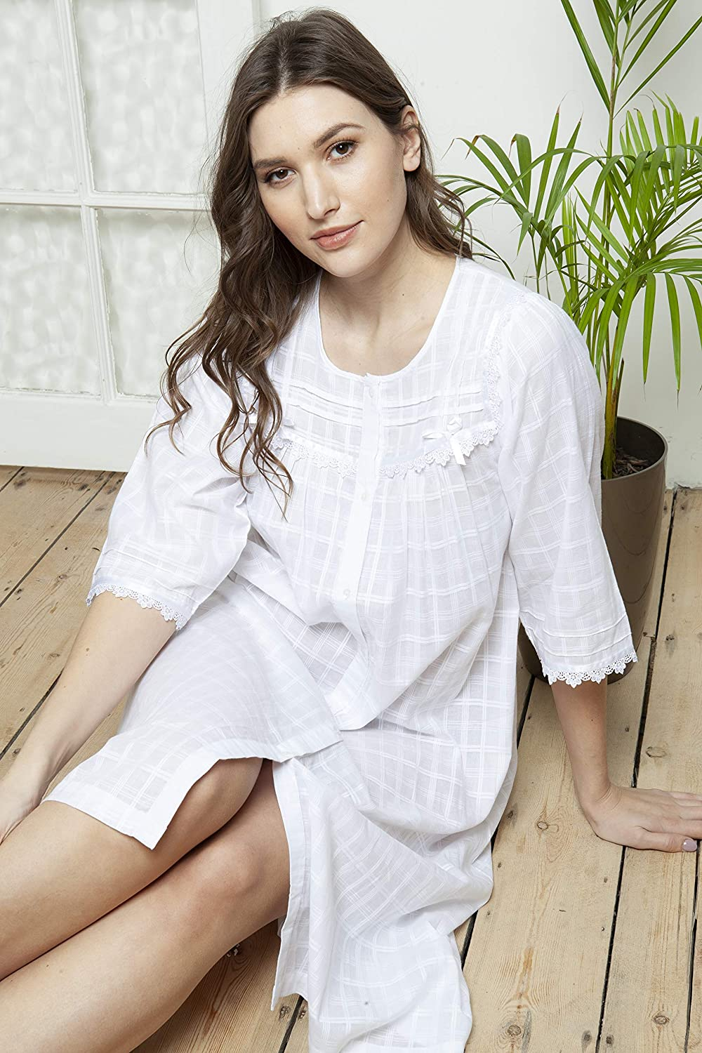 100/% Cotton Victorian Style White Cotton /& Lace Strappy Nightdress by Cottonreal Betina