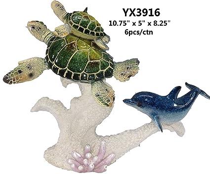 Amazon.com: Esmaltada delfín azul w/verde tortuga yx3916 ...