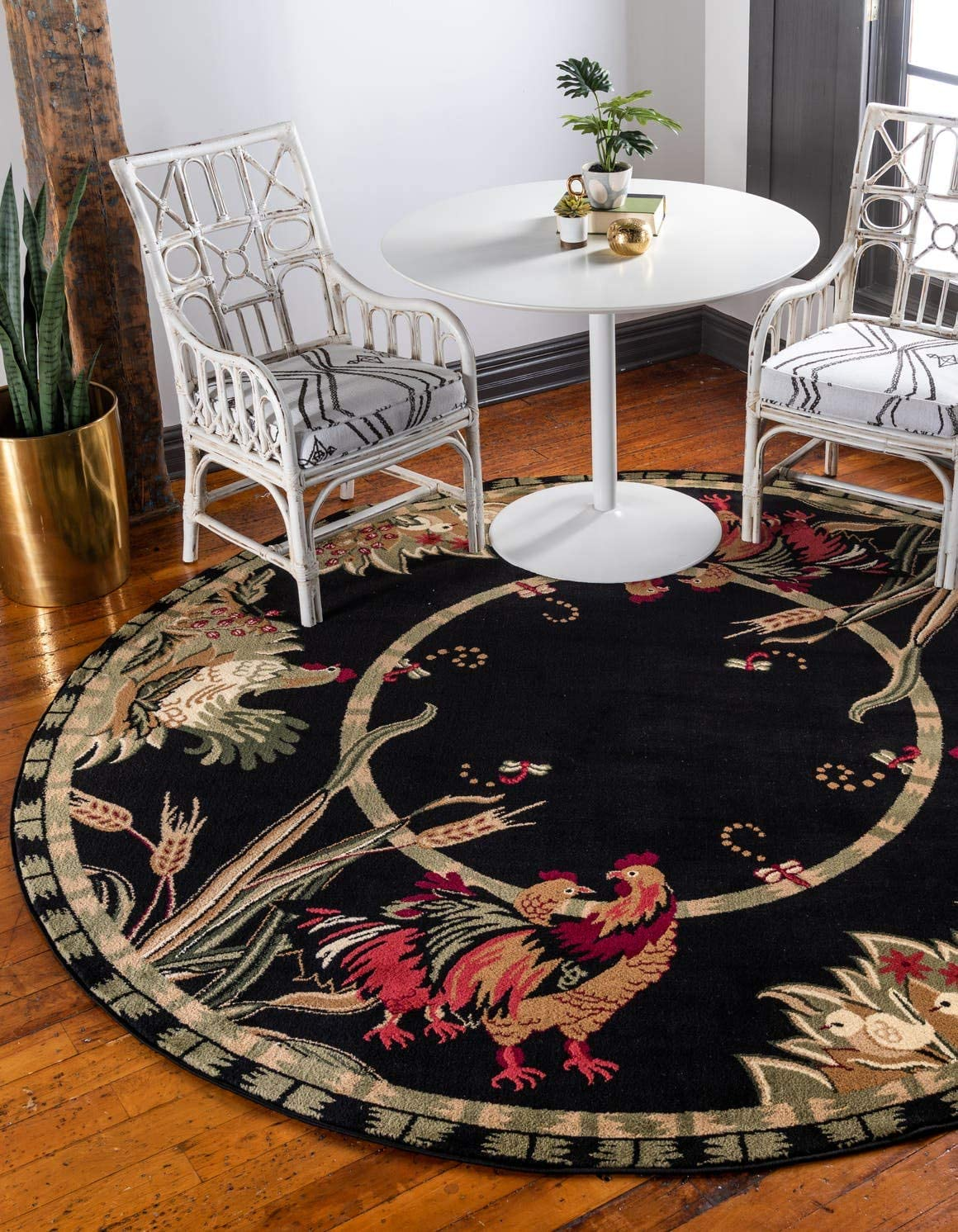 Unique Loom Barnyard Collection French Country Cottage Roosters Black Round Rug 8 0 x 8 0