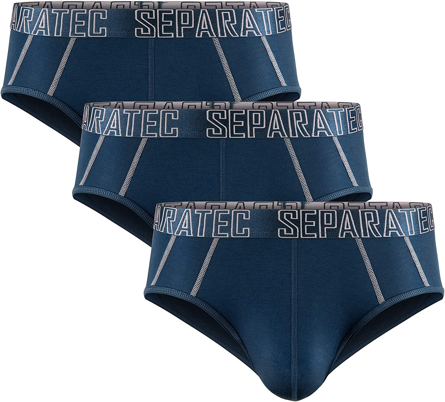 Separatec Men's 3 Pack Dual Pouch Ultra Soft Bamboo Fiber Briefs