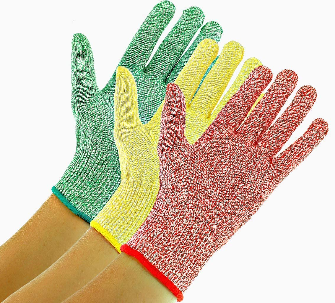 3 Pack TruChef Cut Resistant Gloves - Maximum Level 5 Protection, Food Grade, 3 Fun Colors To Prevent Cross Contamination, Fits Both Hands, Size Large