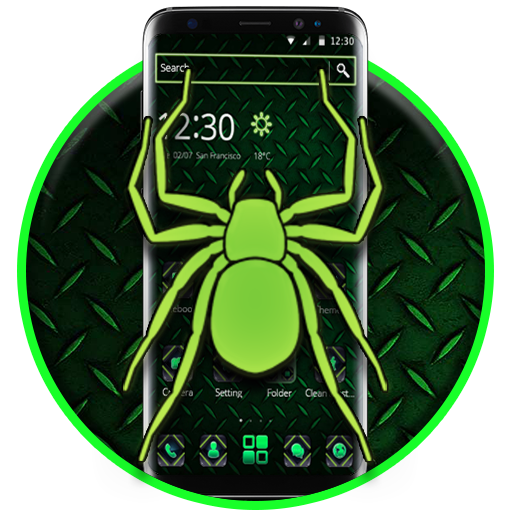 Neon Green Spider 2D Theme