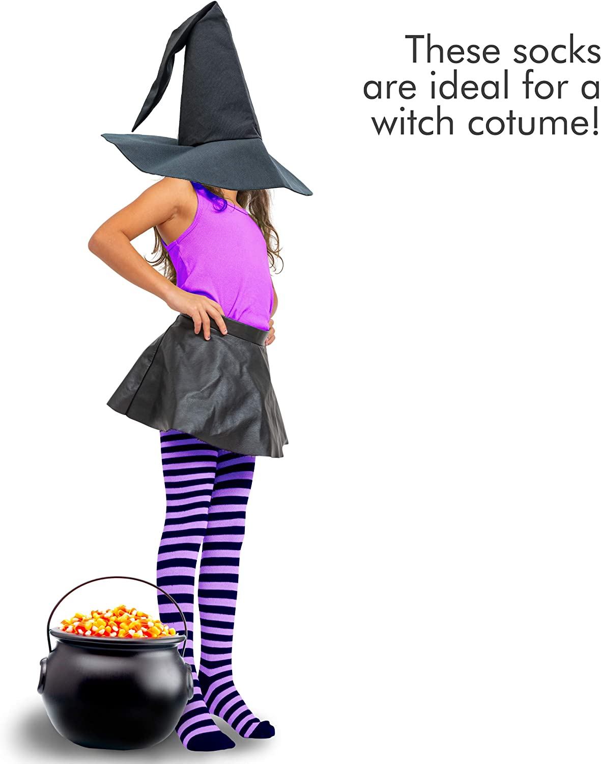 Women and Kids Over The Knee Striped Thigh High Costume Accessories Stockings for Men Skeleteen Purple and Black Socks