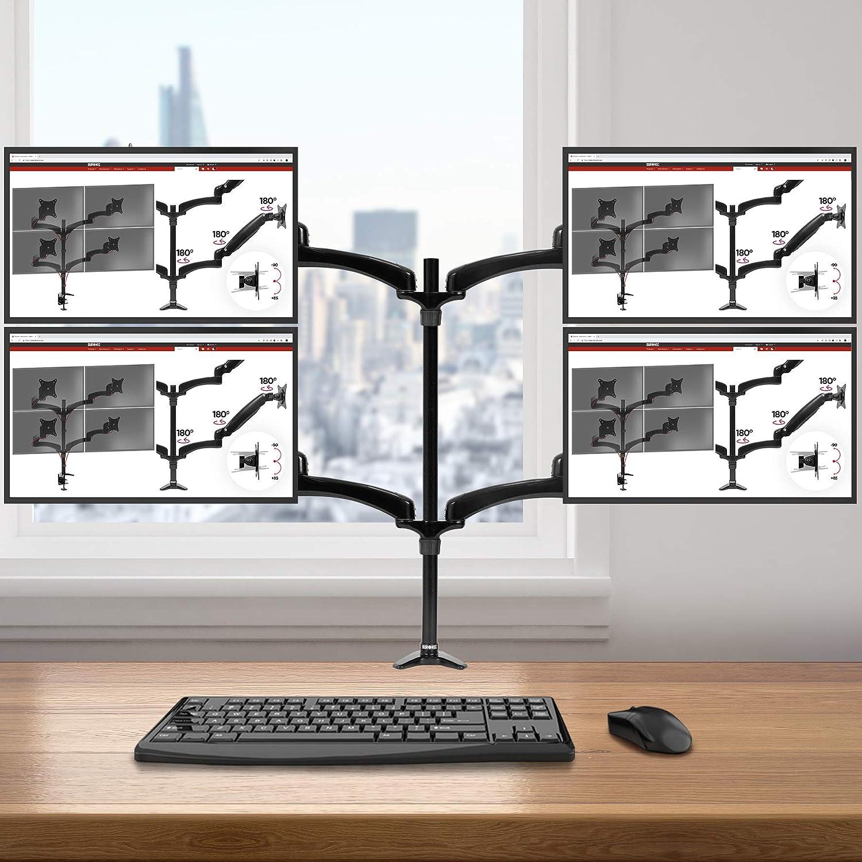 Duronic DM454 Support Quadruple 4 écrans PC pour Bureau à Pince - Gestion des câbles intégrés au Bras - Rotatif/Inclinable/Pivotable - Compatibilité Universelle avec Moniteur d'Ordinateur LCD/LED