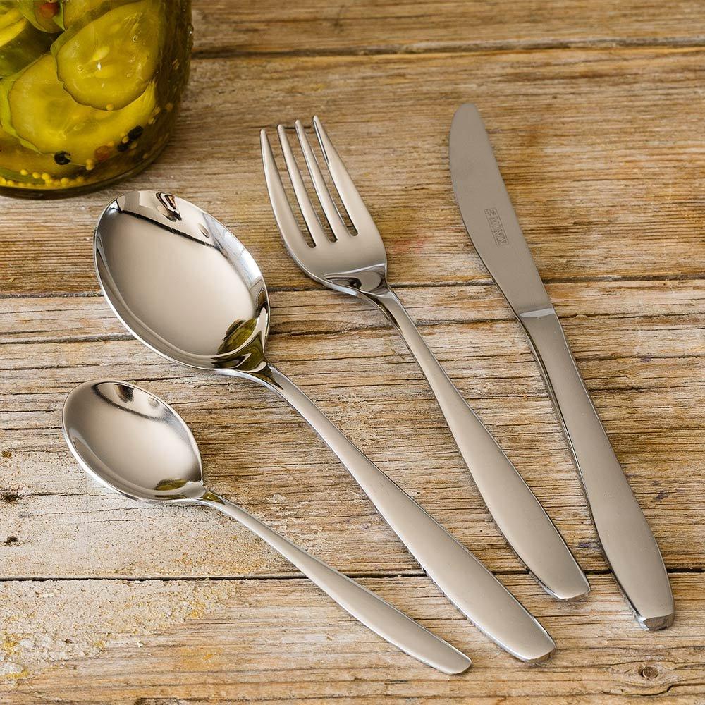 Monix Zurich - Set de cubiertos 49 piezas, cubiertos de acero inox 18/10 con estuche estilo Nogal, cuchillo normal: Amazon.es: Hogar