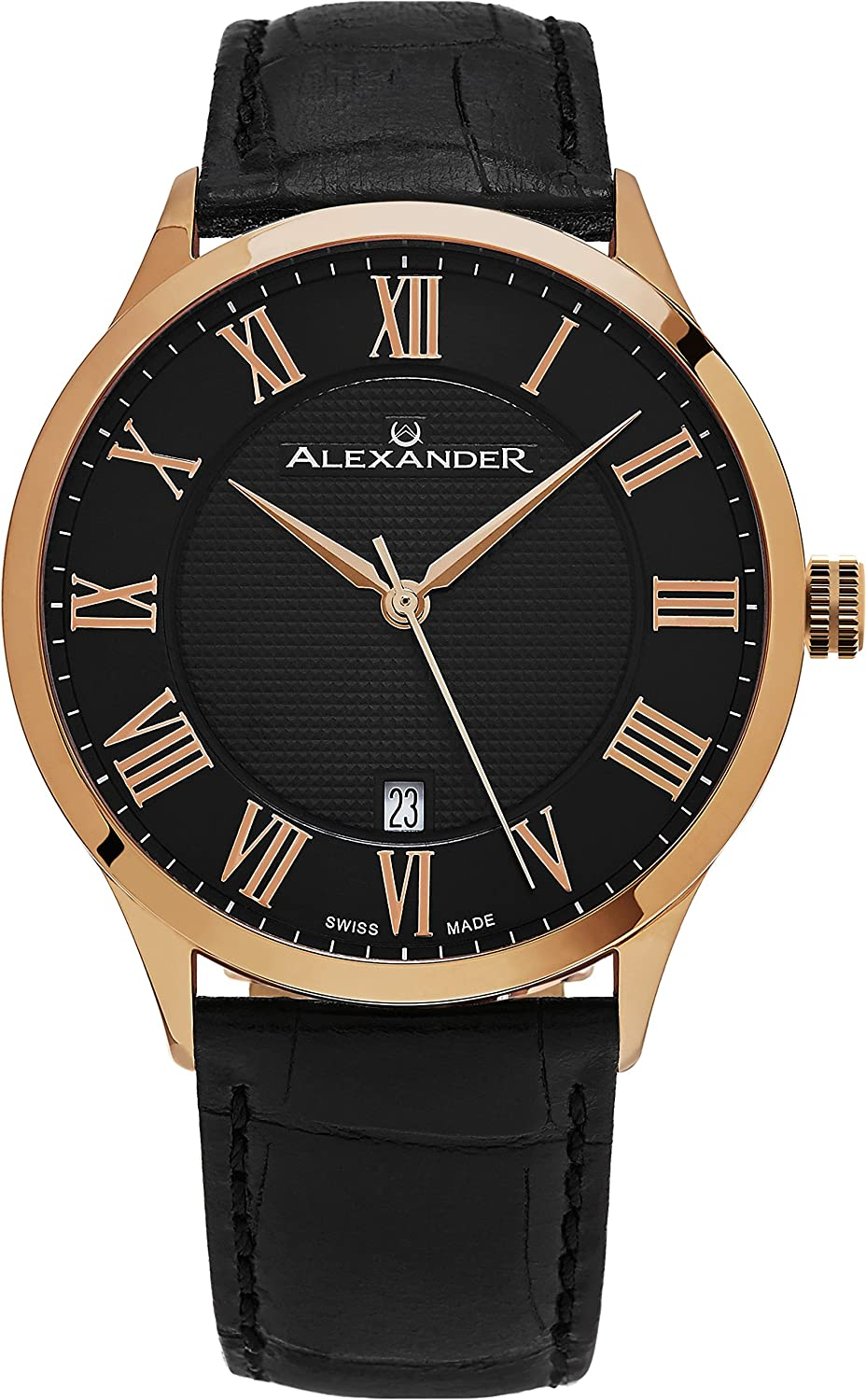 Alexander Statesman Triumph Wrist Watch for Men – Stainless Steel Plated Rose Gold Watch – Black Leather Analog Swiss Watch – Black Dial Date Mens Designer Watch A103-05
