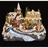 Animated Christmas Village Scene. Fibre Optic LED Lights & Sounds. Low Voltage. by Kingfisher