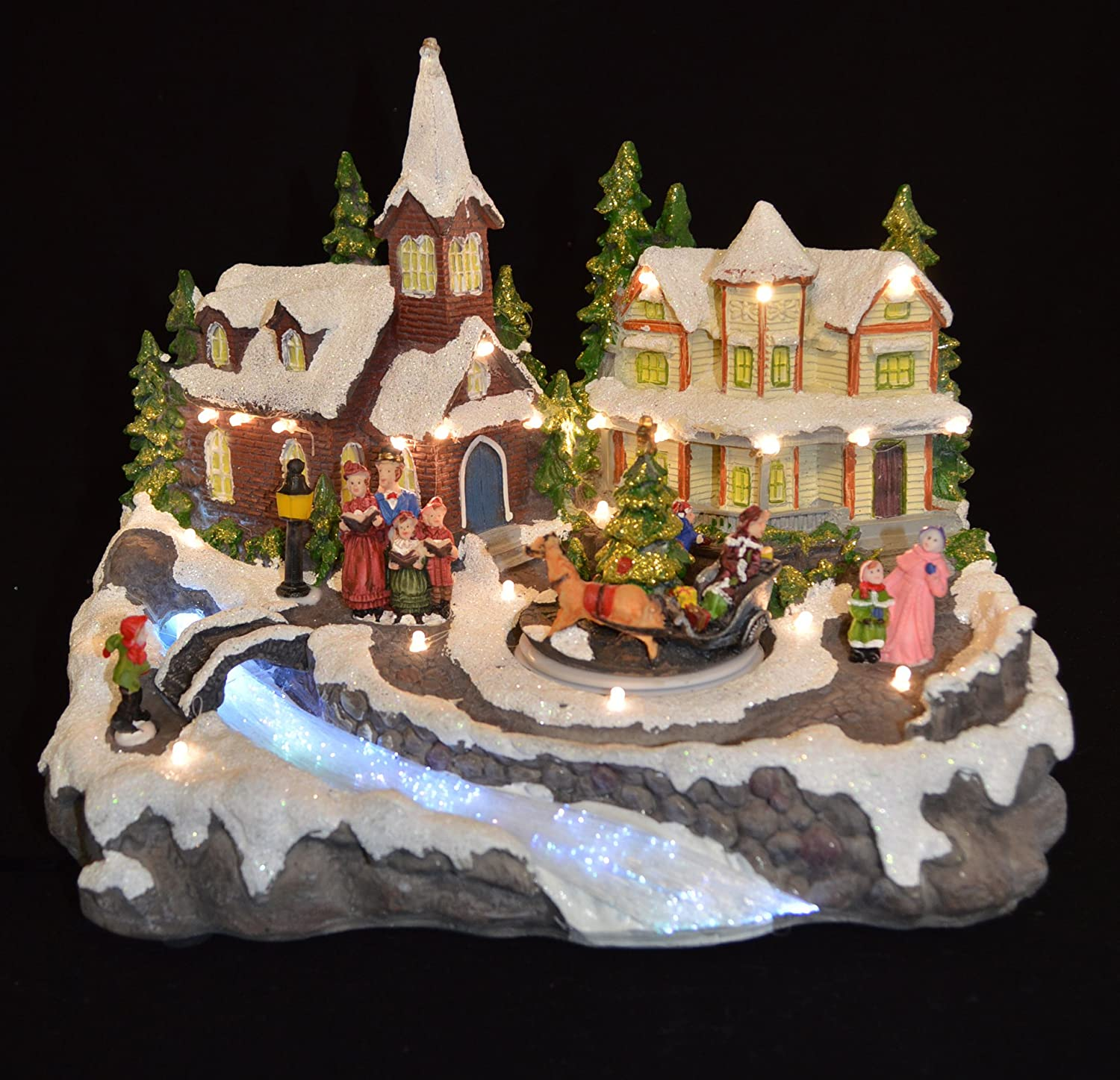 Animated Musical Light Xmas Village Scene Color Changing Led Ornament