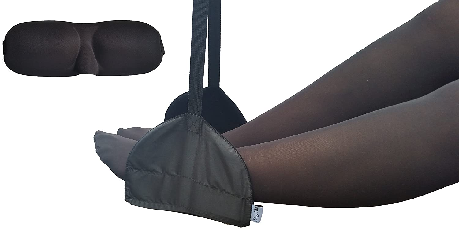 Sleepy Ride - Portable Airplane Footrest + Memory Foam Sleep Mask - Travel Accessories (Jet Black) AlliJac