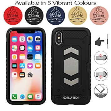 the latest 64b58 d8db5 Gorilla Tech Apple iPhone X iPhone 10 and iPhone XS Slim Armour Case Dual  Layer Protection Shockproof Cover Touch