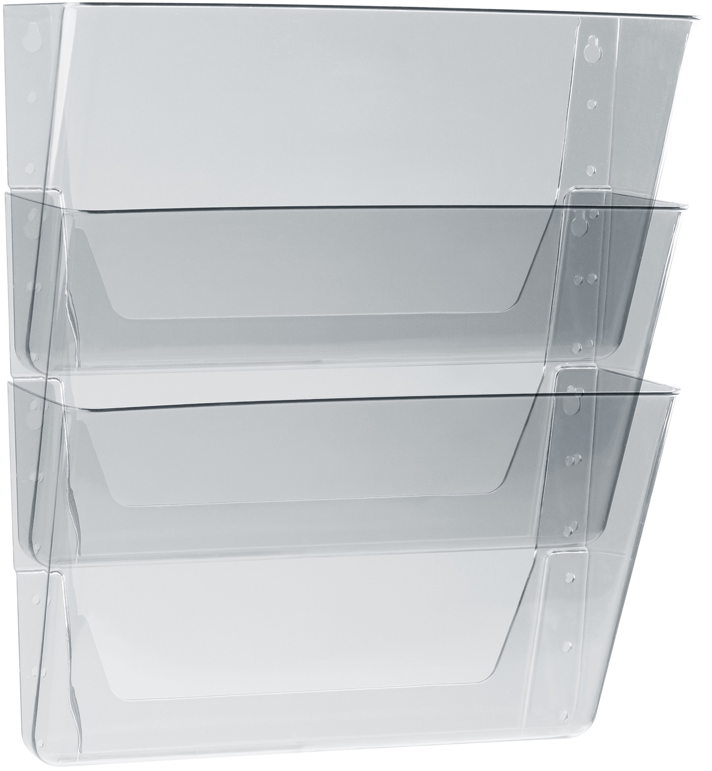 Storex Unbreakable Letter Sized Wall Files, 3-Pack, Clear, Case of 6 (STX70313U06C)