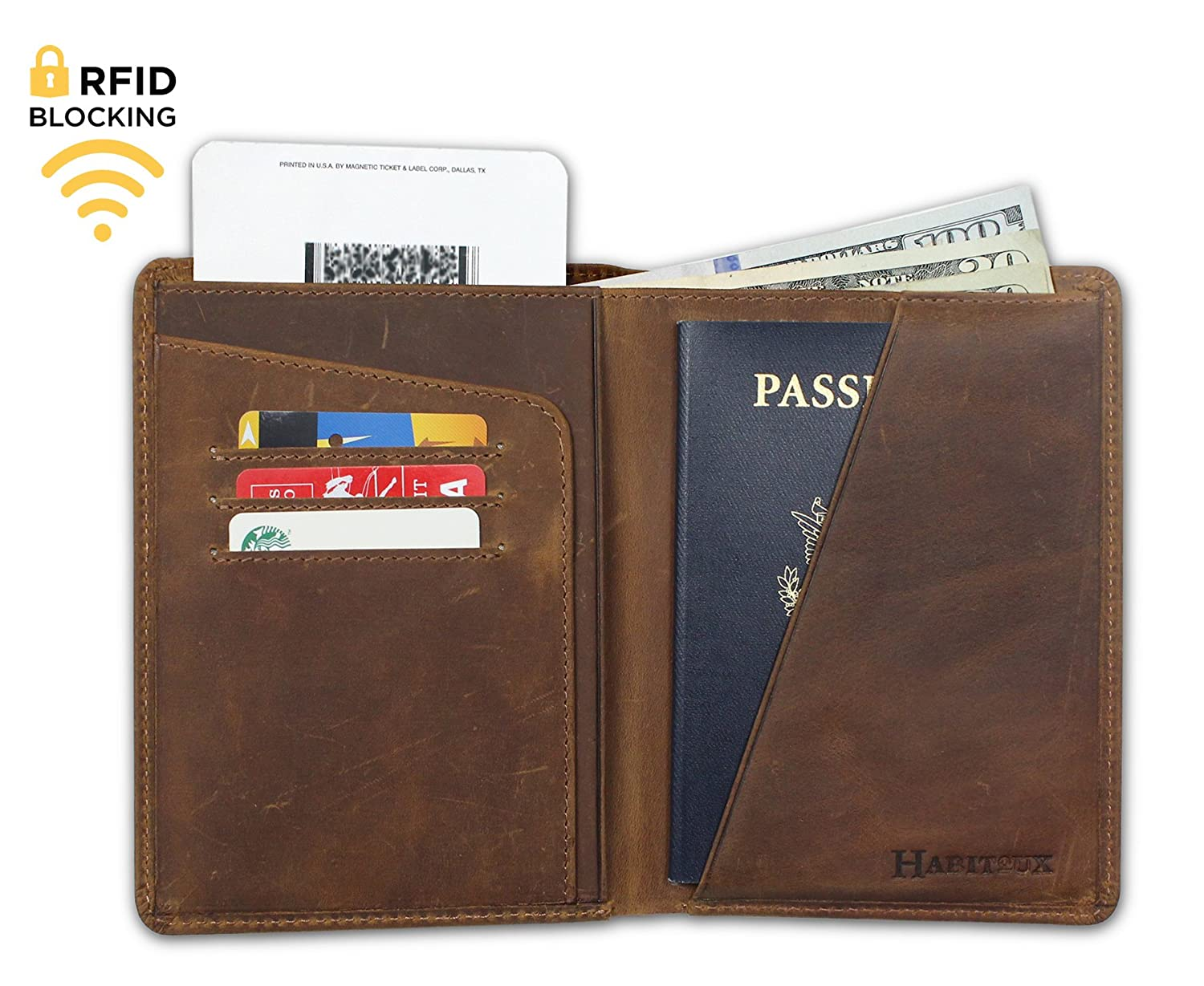 RFID Blocking Genuine Crazy Horse Leather Travel Passport Wallet (Dark Brown) (Black)