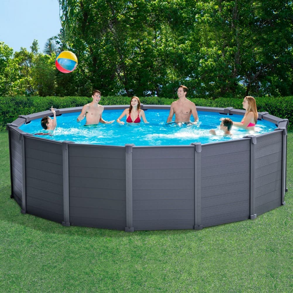 Intex Graphite Panel Piscina Desmontable, 16.805 litros, Gris ...