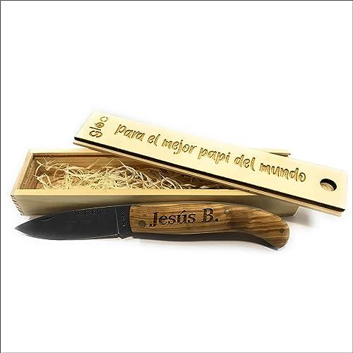 NAVAJA MADERA OLIVO PERSONALIZADA CON TU NOMBRE. Incluye estuche personalizado de madera.: Amazon.es: Handmade