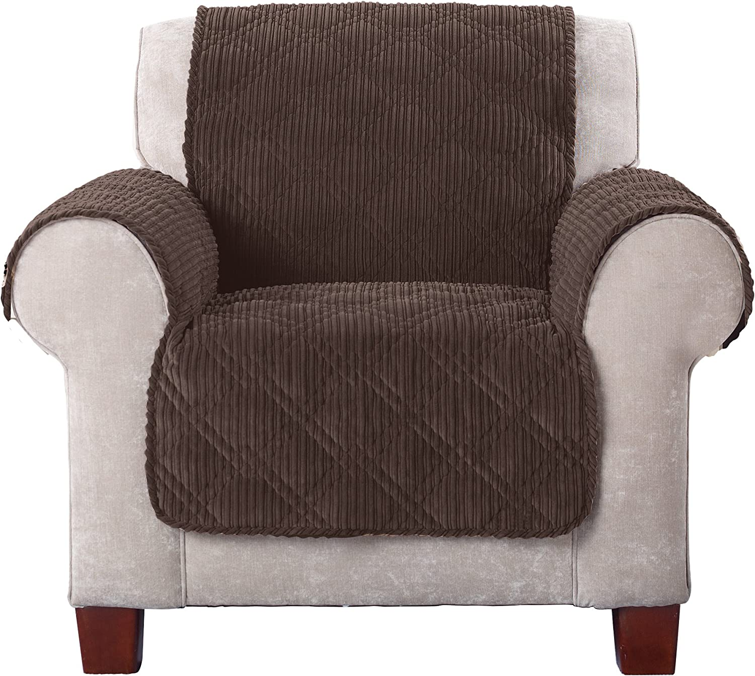 SureFit Wide Whale Chair, Furniture Cover, Chocolate