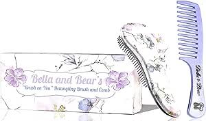 Bella and Bear Detangling Brush Set - the Best Detangler Hair Brush no more tangles, no more tears.