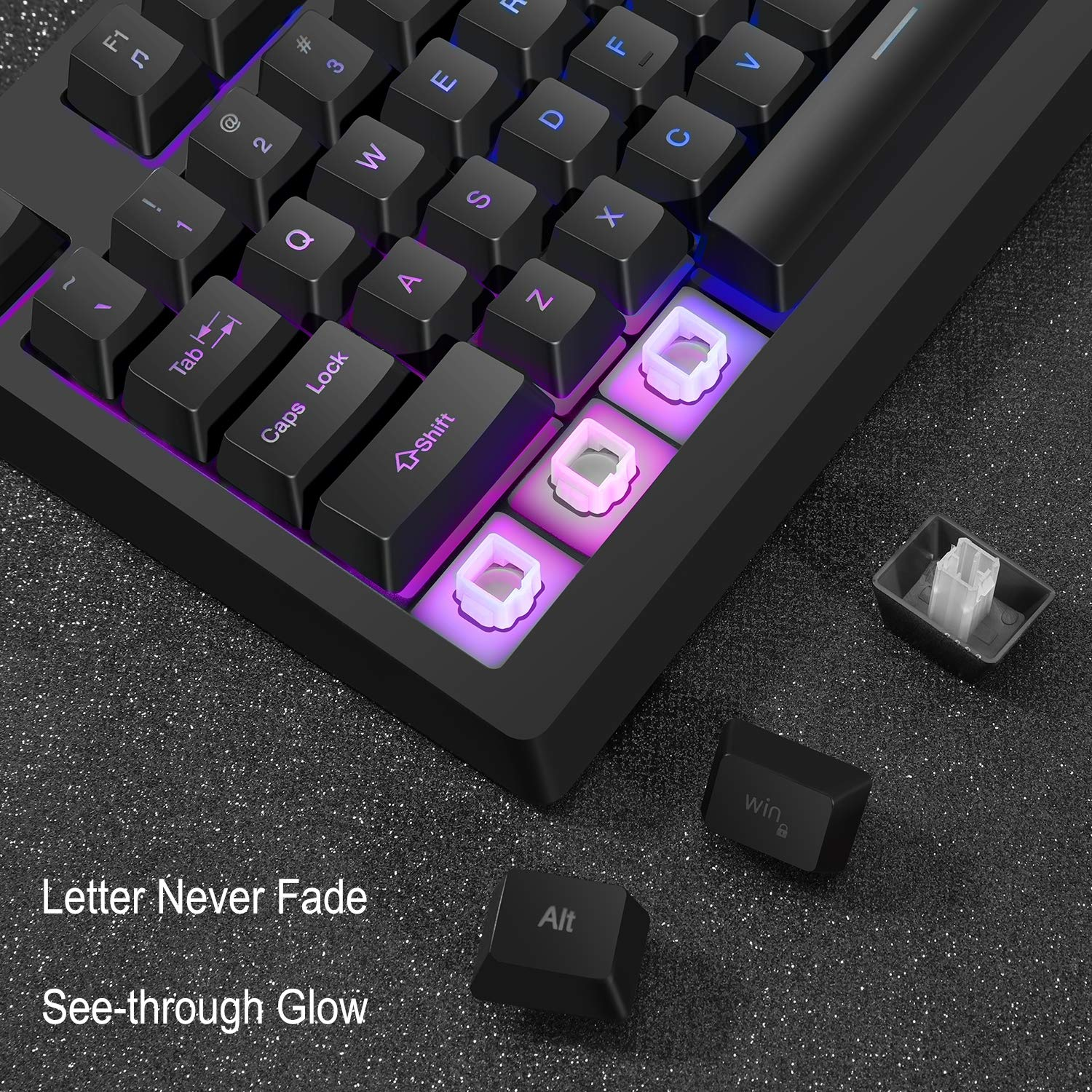 RGB 87 Keys Backlit Gaming Keyboard and Mouse Combo,USB Wired LED Backlight Gaming Mouse and Keyboard Set for Gaming PC Computer Work