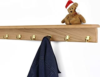"""product image for Solid Cherry Shelf Coat Rack with Solid Brass Single Style Hooks (Natural, 31"""" with 6 hooks)"""