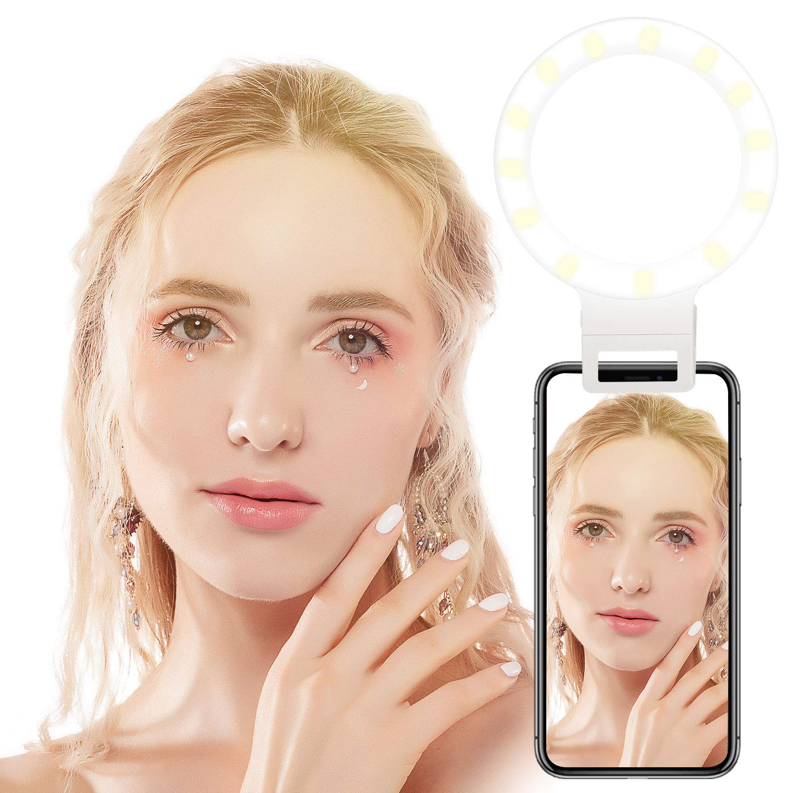 Linkstyle Selfie Ring Light for Phone, 36LEDs Selfie LED Camera Light [Rechargeable & 3-Level Brightness] Compatible with Iphone XS/XS Max/XR/X/8/7 Plus/6 Plus/Samsung Galaxy Note 9 S8 Plus S7 S6 Edge