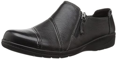 Clarks Women's Cheyn Clay Loafer, Black Leather, 9.5 W US best women's dressy flats