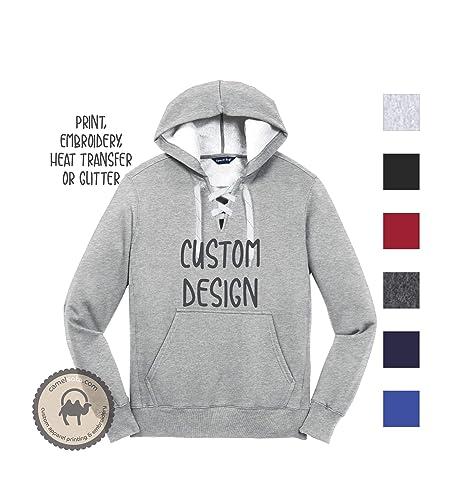 9c022e9fdde60 Amazon.com: Custom Design on Hockey Lace Hoodie Custom Embroidery on ...