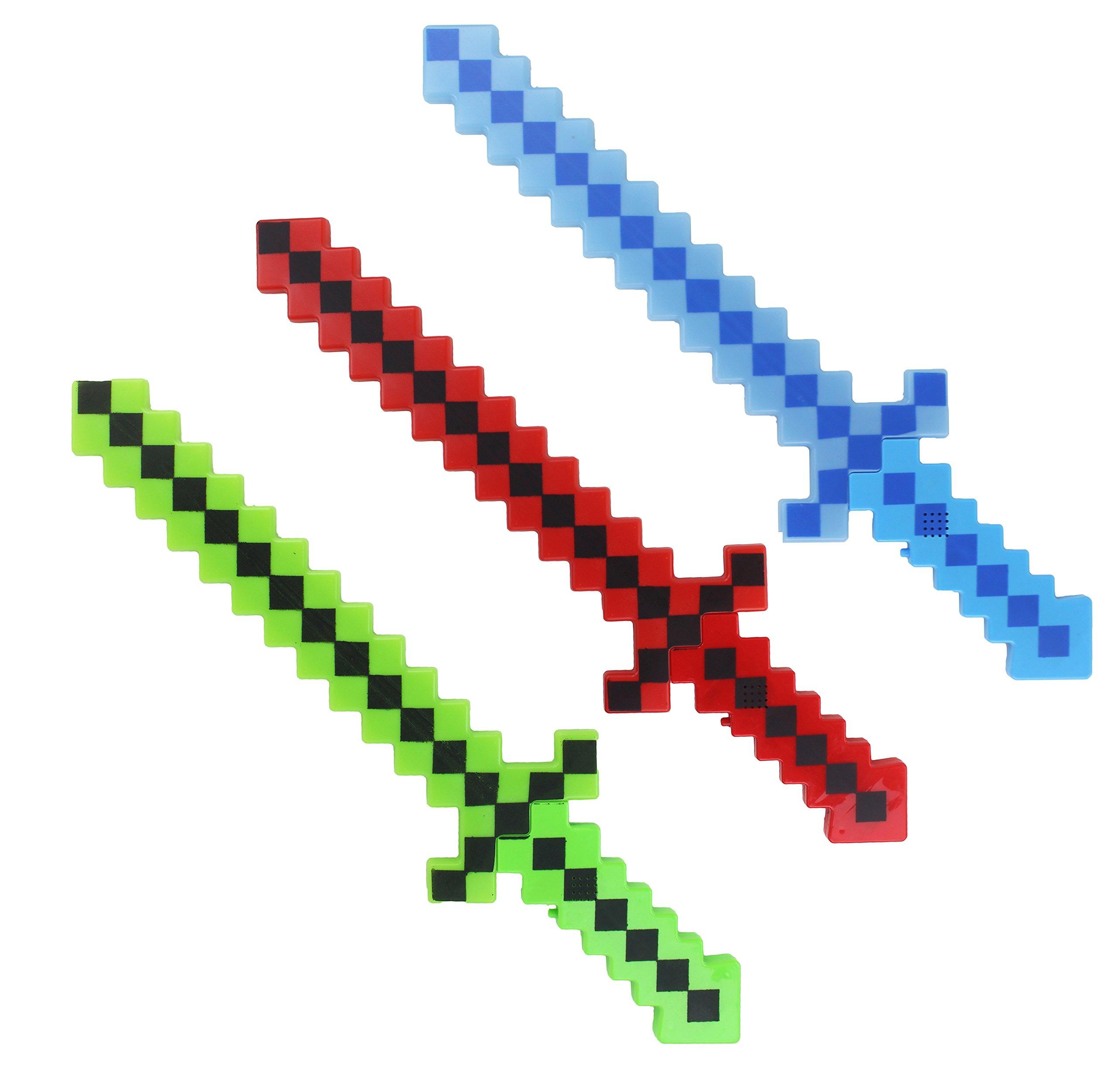8 Bit 6 Pack Lumistick Light-up Diamond Pixel Sword - (Colors May Vary) 6 Pixelated Sword, Pixel Theme Toys, Electronic Sword, Light up Toys, Fun LED Pixel Toy Sword for Kids, Children 24 Inch