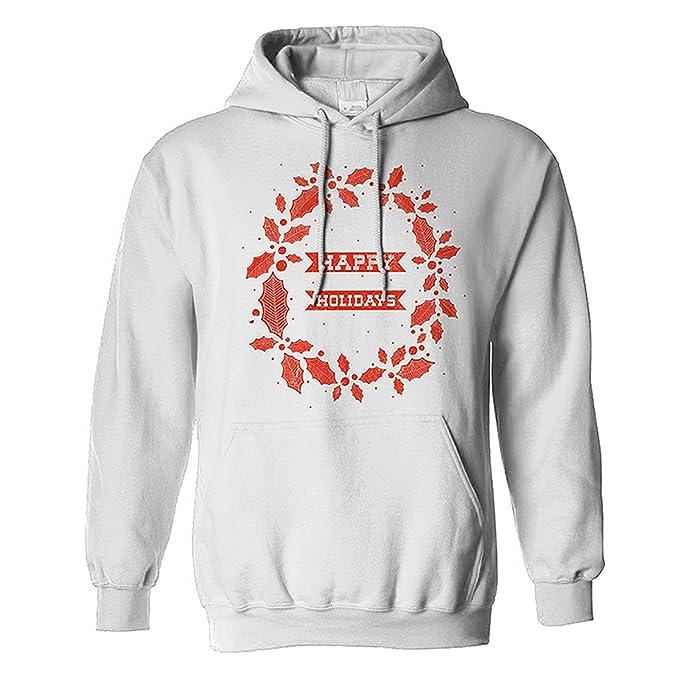 The T-Shirt Factory - Sudadera con Capucha navideña con Mensaje Happy Holidays para Hombre: Amazon.es: Ropa y accesorios