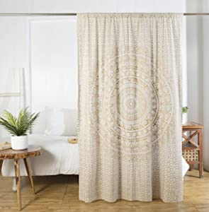 Madhu International Cotton Curtain 1 Panel for Window/Home Decorative Rich Cotton Sheer Curtains for Bedroom/Living Room Rod Pocket Tapestry Curtain Drapes 54x78 Inch, White Gold