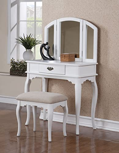 H-M SHOP Vanity Set with 3 Fold Mirror and Stool in White Finish