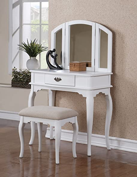 vanity set with 3 fold mirror and stool in white finish
