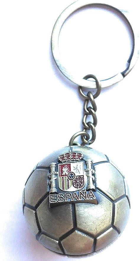 ValmoniSport Llavero con Balón de Fútbol Dorado con el Escudo de ...