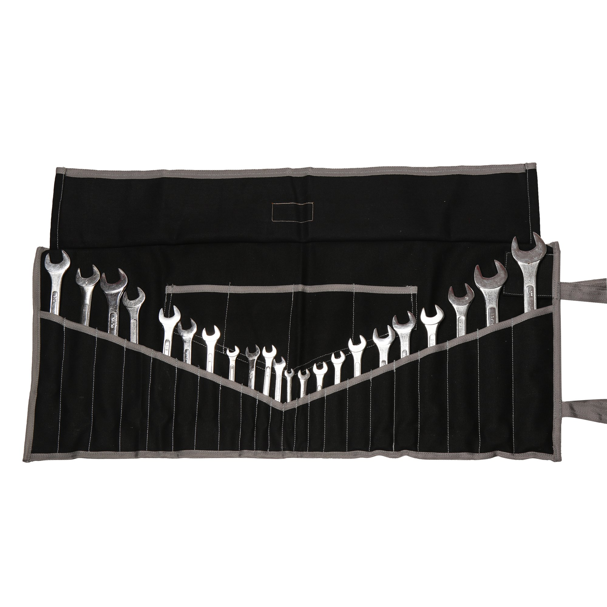 Bull Tools BT 1732 Dyed 100% Cotton 15 Oz. Heavy Weight Duck Canvas Wrench & Tool Roll Pouch Bag 22+4 Pocket Coal Black