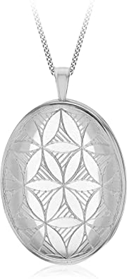Tuscany Silver Sterling Silver Diamond Cut Etched Wave Satin Polished Oval Locket on Curb Chain 46cm//18