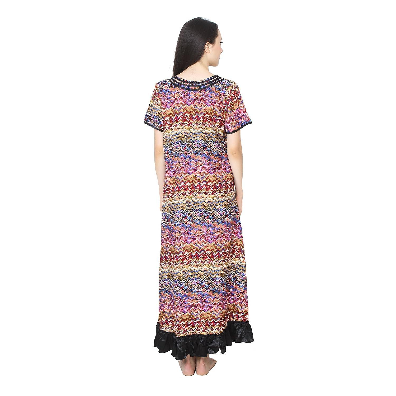2869f6ab76 Patrorna Cotton Silk Blend Women s Lace Work Asymmetrical Nighty Night Dress  Gown in Multi-Colour (Size S-7XL