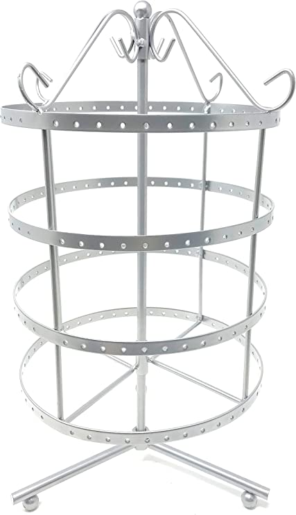 Amazon Com 4 Tiers Antique Silver Rotating 92 Pairs Earring Holder Necklace Organizer Stand Jewelry Stand Display Rack Towers Home Kitchen