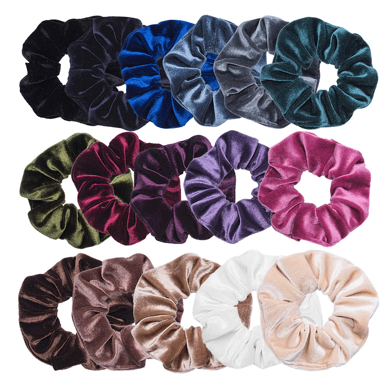 VEMAI 16 Pack Hair Scrunchies Velvet Scrunchy Elastics Bobble Hair Bands Ties Scrunchies