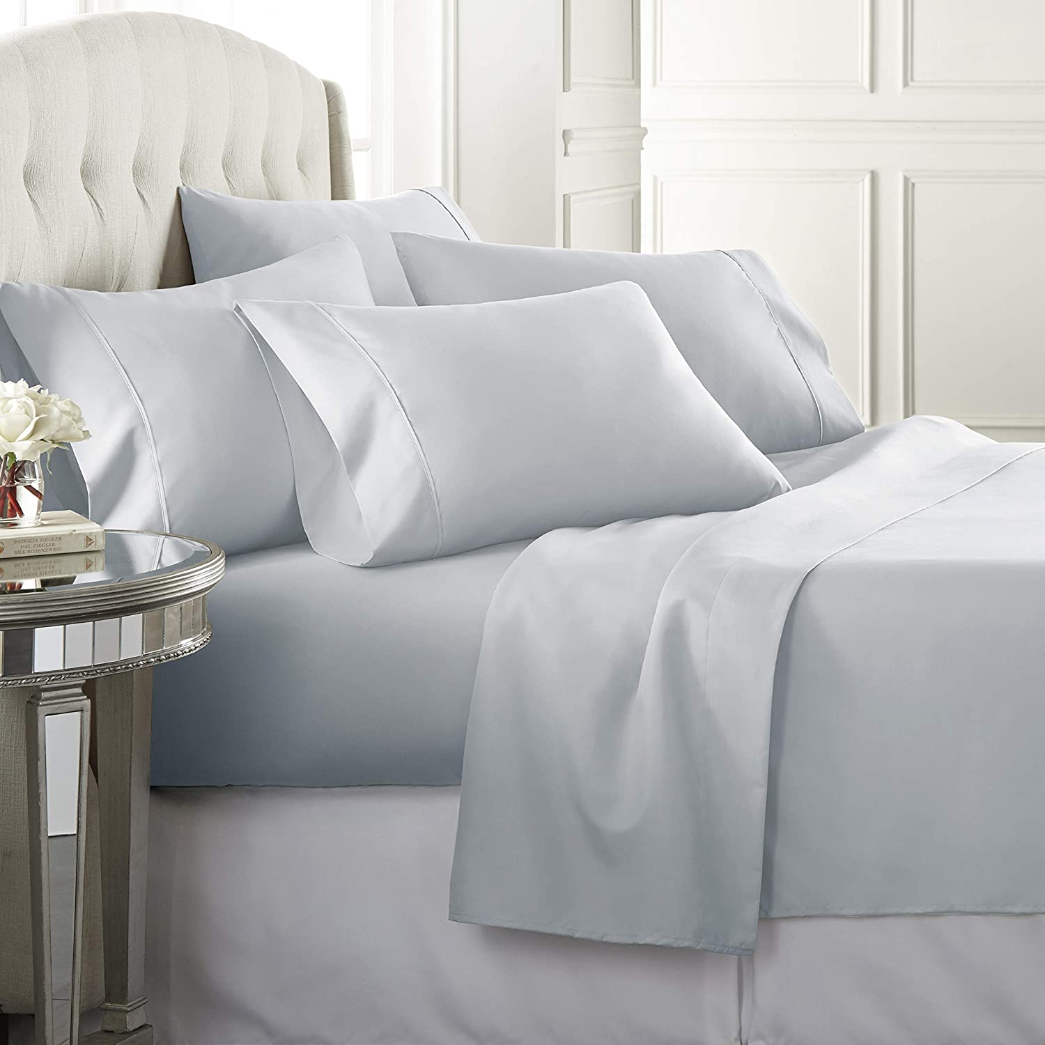 6 Piece Hotel Luxury Soft 1800 Series Premium Bed Sheets Set, Deep Pockets, Hypoallergenic, Wrinkle & Fade Resistant Bedding Set(Queen, Ice Blue