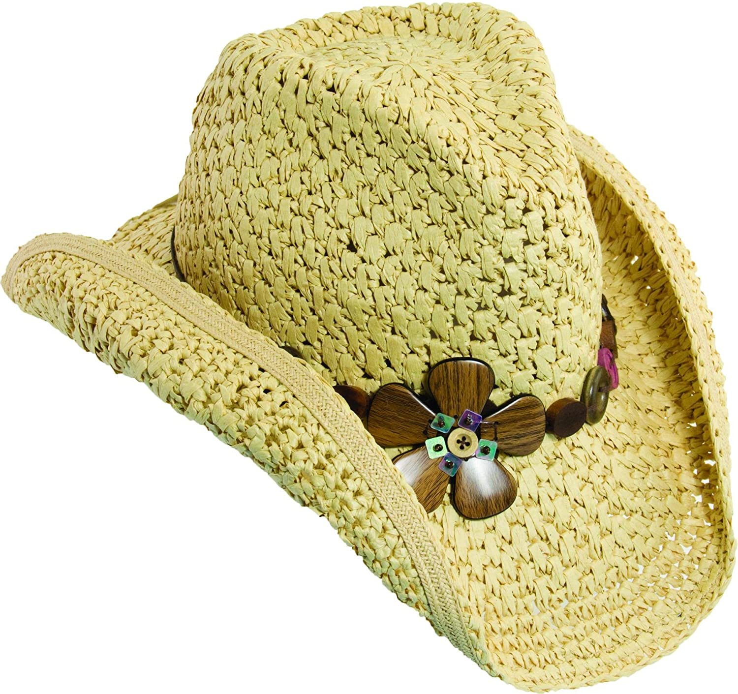 Dorfman Pacific Womens Shapeable Brim with Wood Flowers Western Cowgirl Hat