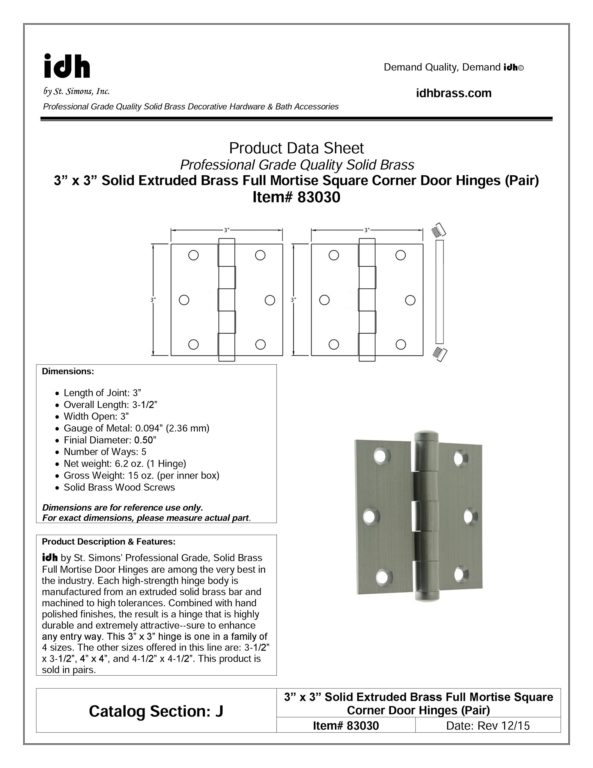 """Professional Grade Genuine Quality Solid Brass 3"""" x 3"""" Full Mortise Square Corner Door Hinges by idh (Pair) (Oil Rubbed Bronze)"""