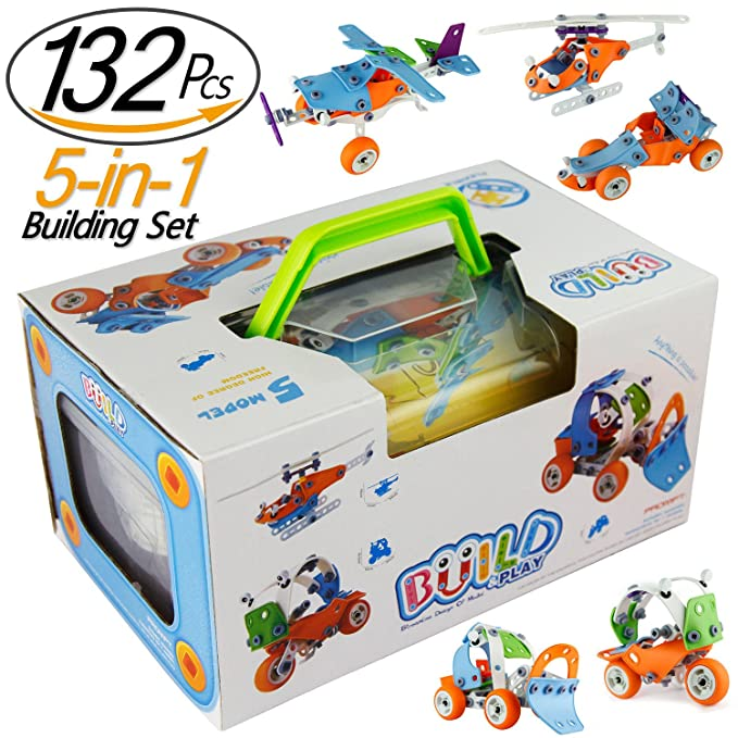 PBOX 132PCS,5-in-1 Toddler building construction set,Building Truck kit,STEM Educational Engineering Building Blocks Toy kit for 4-5+year old Boys&Girls