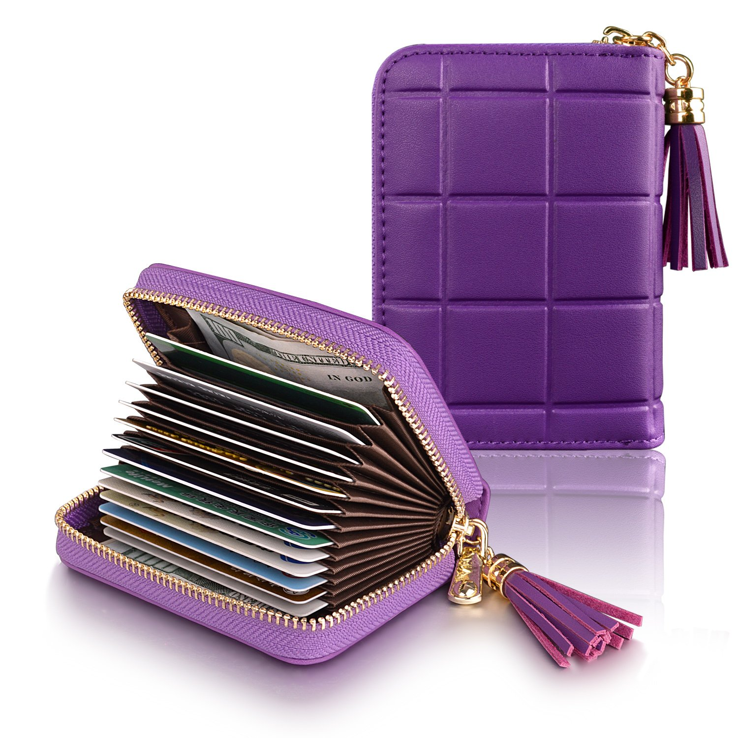 Accordion Zipper Wallet for Women Genuine Leather Card Holder RFID Blocking Wallet Small Wallet for Coin Purse Purple