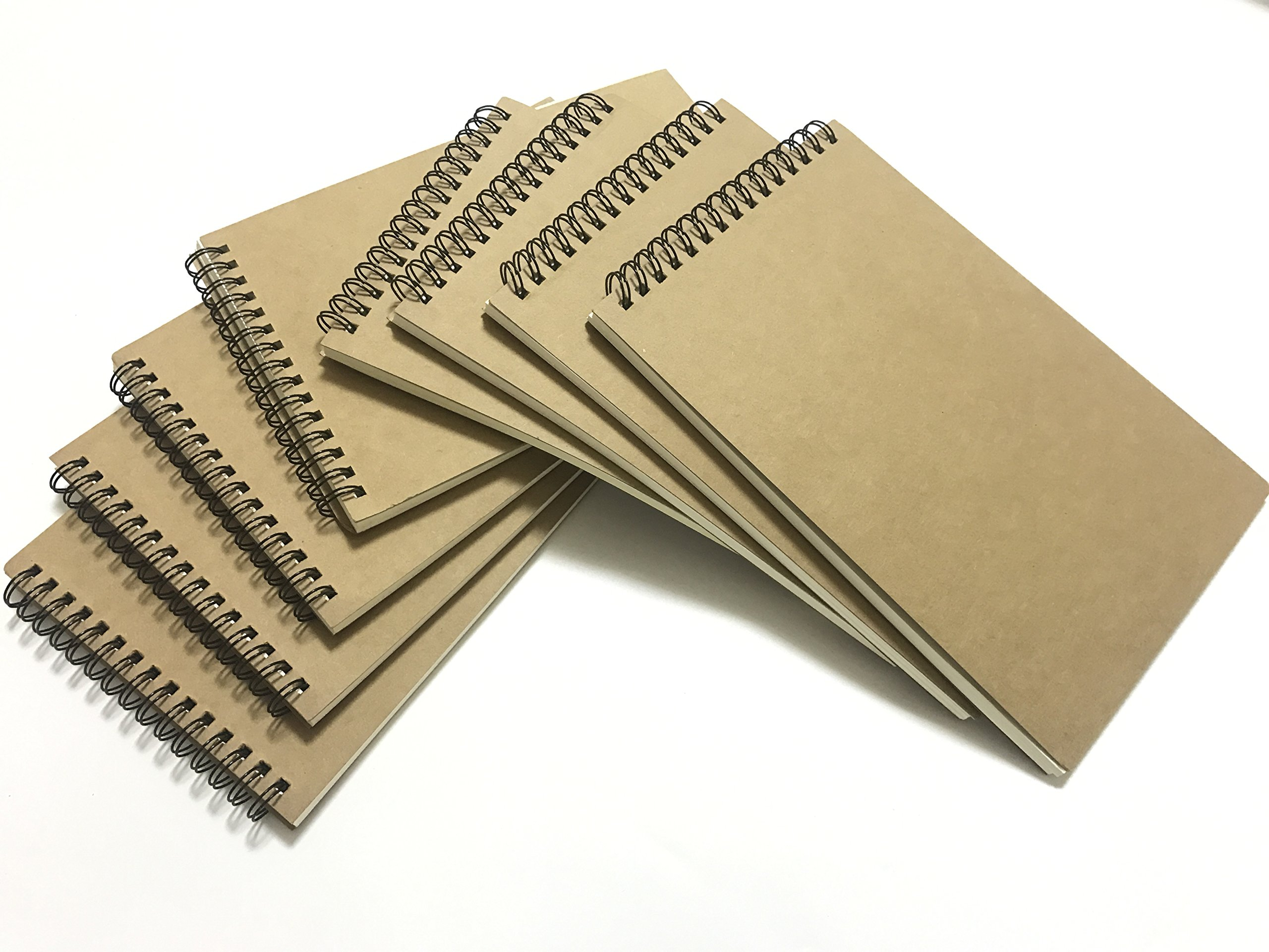 VEEPPO A5 Spiral Notebooks and Journals Bulk Ruled Line 8 Pack Cardboard Kraft Cover Ruled Line Thick Cream Paper Notepads 14x21cm (Horizontal Lined White-8 Pack)