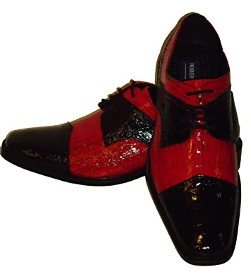 available free delivery new concept Amazon.com | Robeto Chillini 6744 Mens Black Red Shiny Croc ...