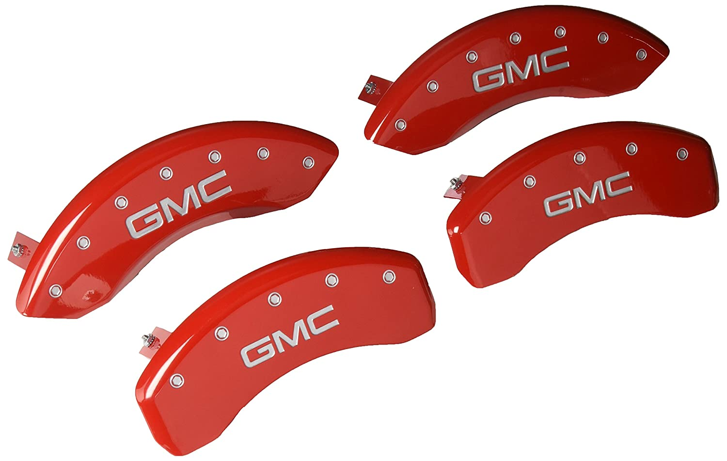 MGP Caliper Covers 34015SGMCRD Caliper Cover (Red Powder Coat Finish, Engraved Front and Rear: GMC, Silver Characters, Set of 4)