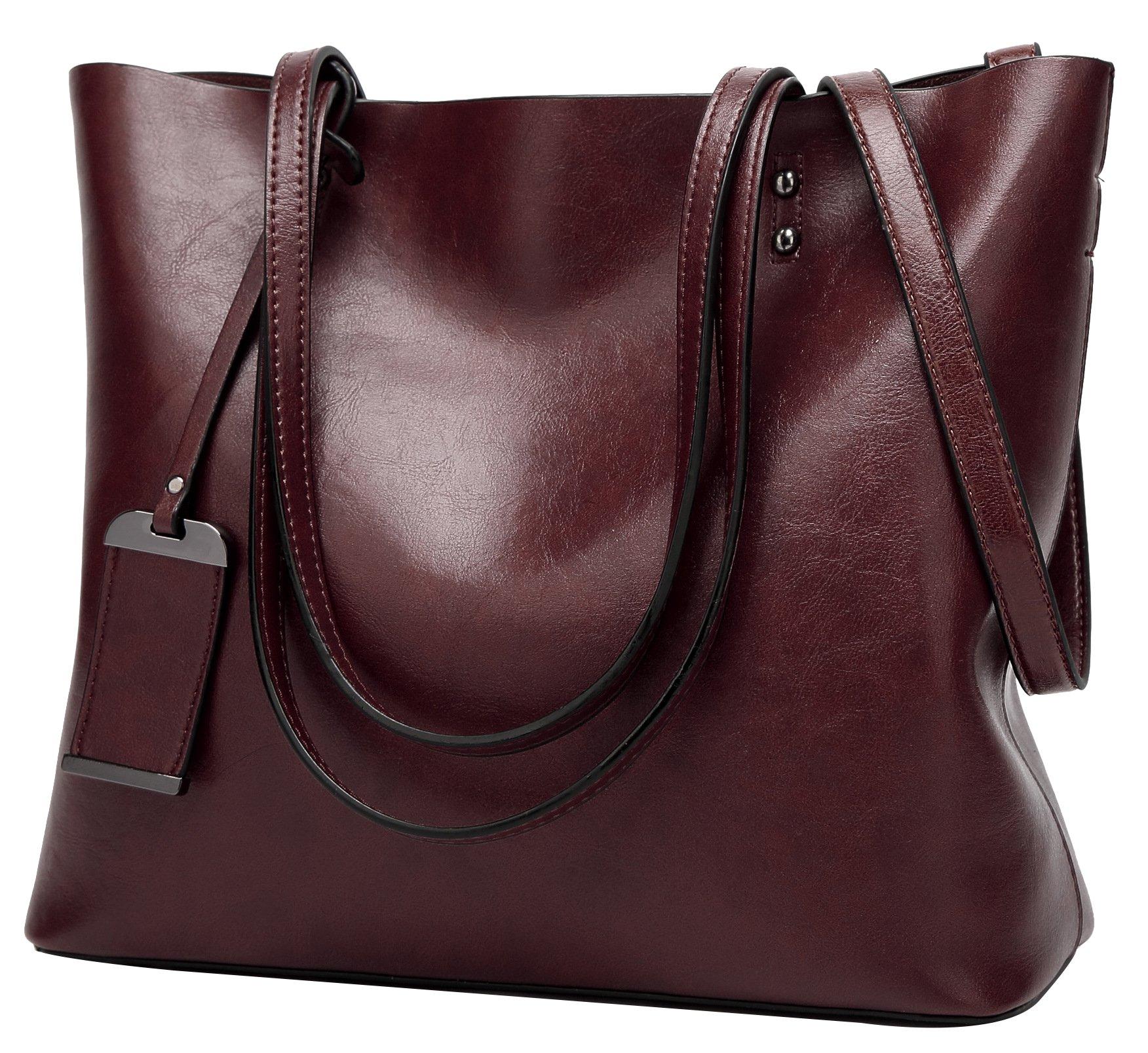 ilishop Oil PU Leather Handbag Vintage Designer Purse Classical Tote Bag Large Capacity Shoulder Bags (Coffee)