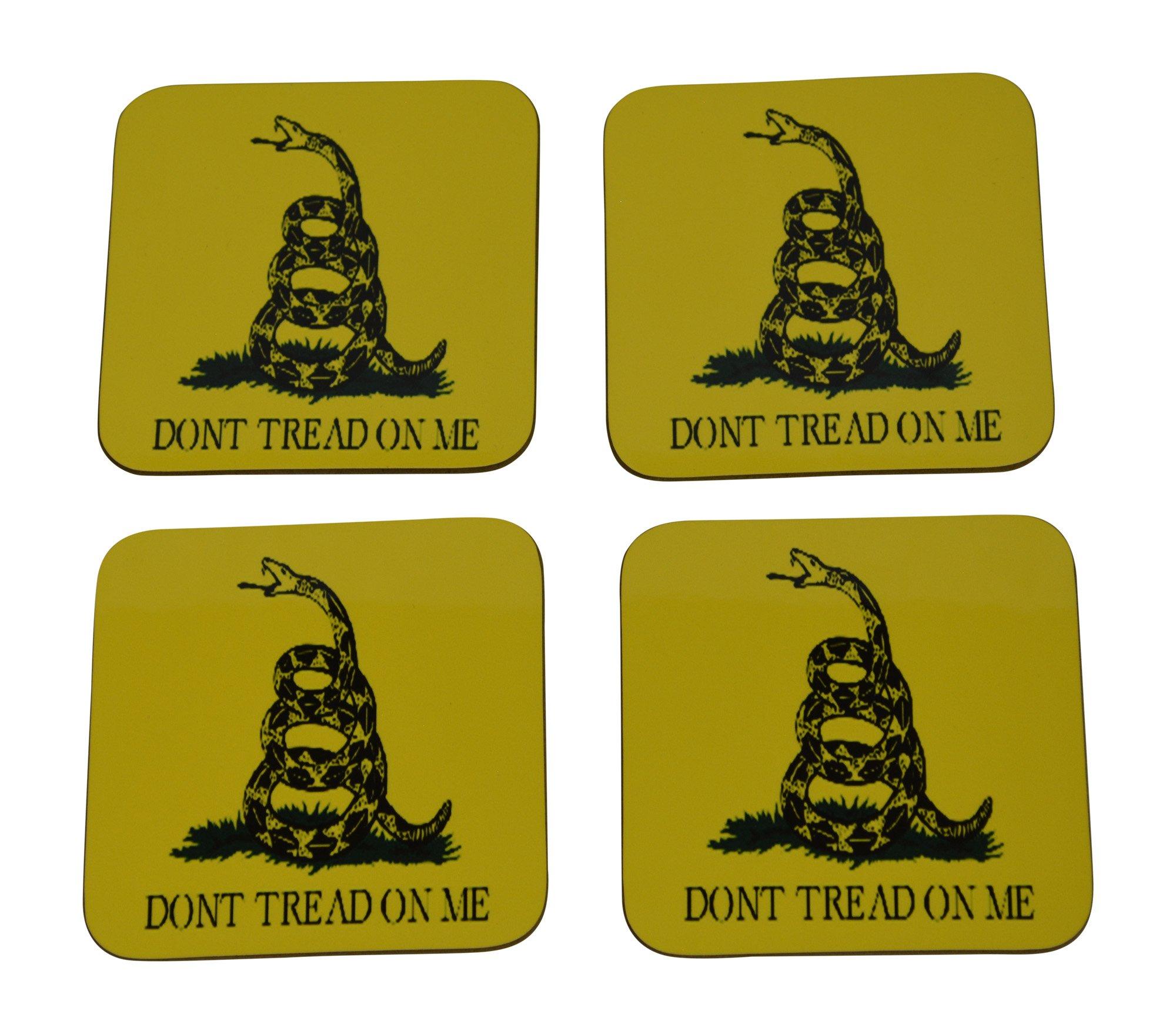Don't Tread On Me Partiotic Flag Drink Coaster Set Gift Gadsden United States of America Military Veteran Home Kitchen Bar Barware