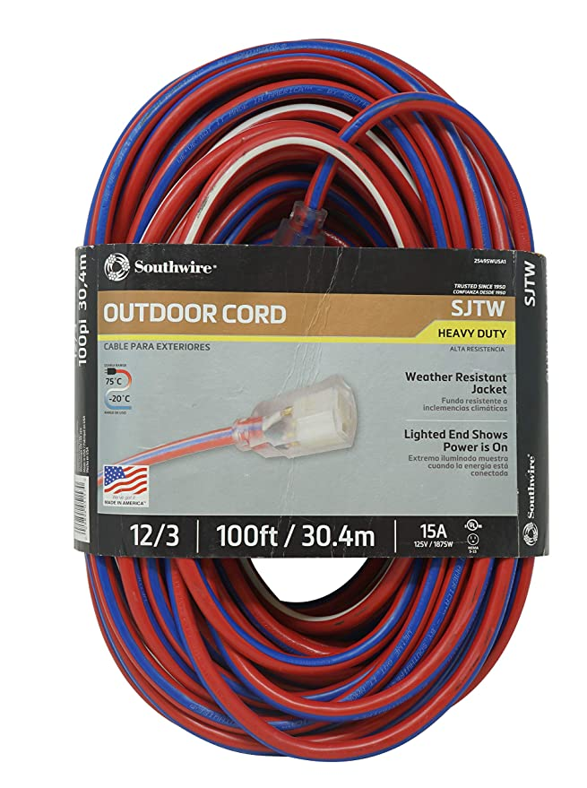 Southwire 2549SWUSA1 100-Feet Contractor Grade 12/3 with Lighted End ...
