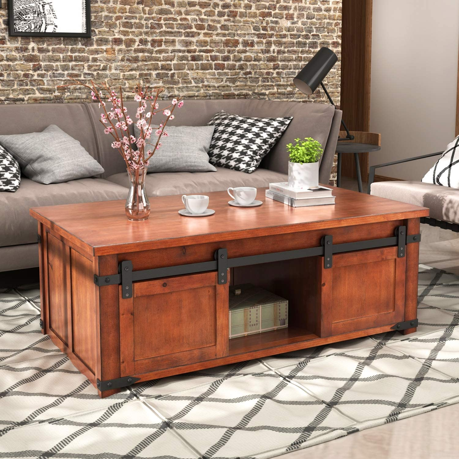 - Amazon.com: Coffee Table With Storage, Norcia Large Rustic Coffee