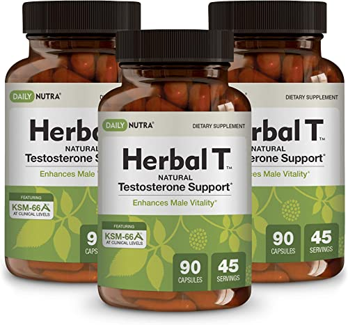 Herbal T Natural Testosterone Booster for Men by DailyNutra – Supplement for Energy, Endurance, and Vitality Featuring Clinically Studied KSM-66 Ashwagandha 3-Pack
